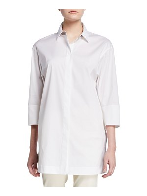 Lafayette 148 New York Button-Down 3/4-Sleeve Shirt with Chain Detail