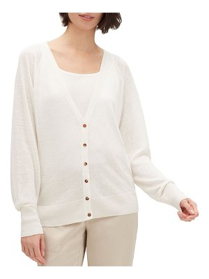 Lafayette 148 New York Button-Front Raglan-Sleeve Relaxed Cardigan