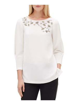 Lafayette 148 New York Caddie Finesse Crepe Blouse with Embellished Detail