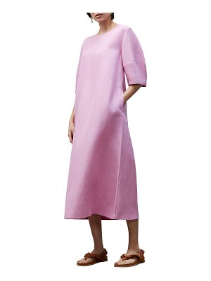 Lafayette 148 New York Cait Elbow-Sleeve Midi Dress