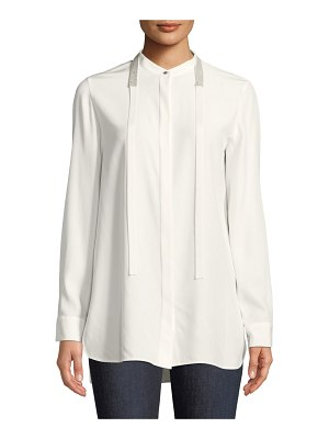 Lafayette 148 New York Cayman Tie-Collar Matte Silk Blouse