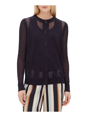 Lafayette 148 New York Crewneck Long-Sleeve Sheer Striped Voile Cardigan