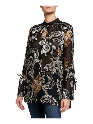 Lafayette 148 New York Desra Button-Down Long-Sleeve Blouse