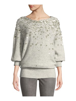 Lafayette 148 New York Dolman-Sleeve Brushed Cashmere-Silk Paillette Sweater