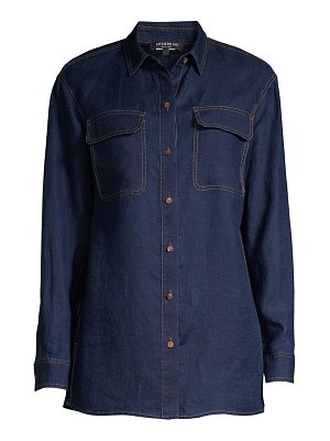 Lafayette 148 New York everson linen chambray blouse