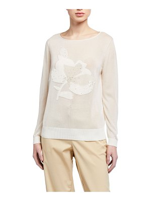 Lafayette 148 New York Fine-spun Voile Sheer Embellished Sweater