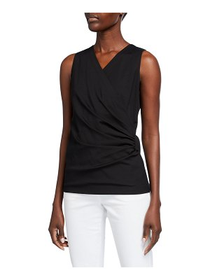 Lafayette 148 New York Gathered V-Neck Sleeveless Top
