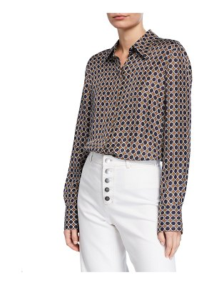Lafayette 148 New York Julianne Distinct Dot Long-Sleeve Silk Blouse