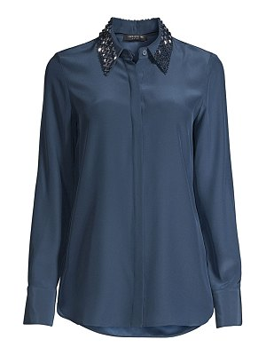 Lafayette 148 New York julianne embellished collar silk blouse