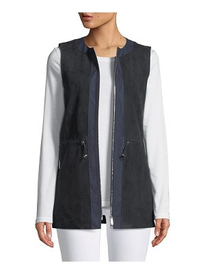 Lafayette 148 New York Lavine Perforated Suede Zip-Front Vest