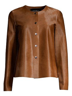 Lafayette 148 New York leo calf hair collarless jacket