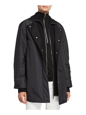 Lafayette 148 New York Mackay Alpine Outerwear Coat with Knit Combo