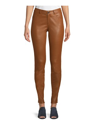 Lafayette 148 New York Mercer Mid-Rise Leather Skinny Jeans