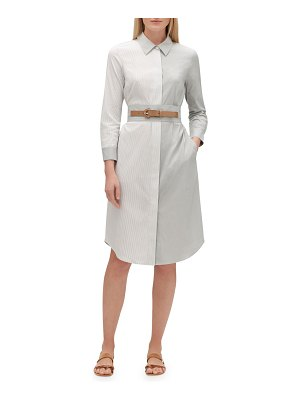 Lafayette 148 New York Peggy Parkside-Stripe Button-Down Belted Cotton Shirtdress