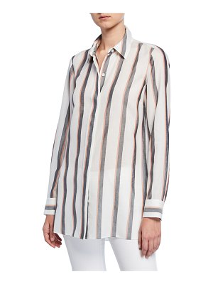 Lafayette 148 New York Peggy Sunrise Stripe Button-Down Shirt