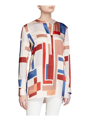 Lafayette 148 New York Prisha Colorblock Long-Sleeve Twill Blouse