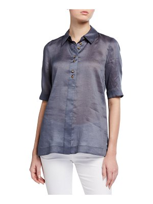 Lafayette 148 New York Remi Gemma Cloth Short-Sleeve Blouse