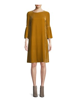 Lafayette 148 New York Roslin Round-Neck Bell-Sleeve Velvet Shift Dress