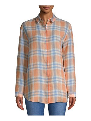 Lafayette 148 New York Sabira Plaid Linen Button-Down Shirt