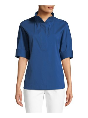 Lafayette 148 New York Silvia Italian Stretch-Cotton Blouse