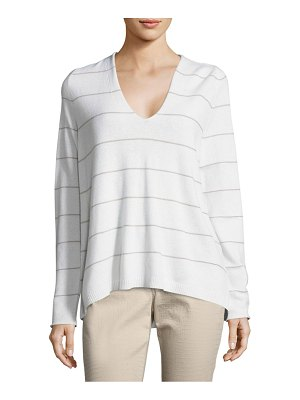 Lafayette 148 New York Striped Cashmere V-Neck Pullover