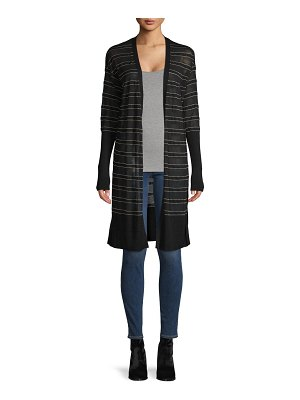 Lafayette 148 New York Striped Open-Front Cardigan