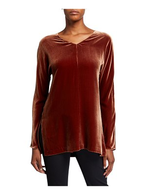Lafayette 148 New York Thurmen V-Neck Long-Sleeve Velvet Blouse