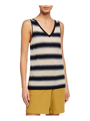 Lafayette 148 New York V-Neck Finespun Voile Sheer Striped Tank