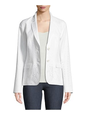 Lafayette 148 New York Vangie Lavish Linen Jacket with Embroidery Detail