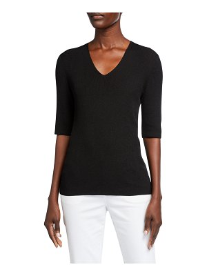 Lafayette 148 New York Voile Fine Spun V-Neck Ribbed Top