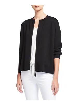 Lafayette 148 New York Zip Front Fine Gauge Merino Wool Cardigan