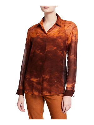 Lafayette 148 New York Zora Sunset Sky Silk Button-Down Blouse