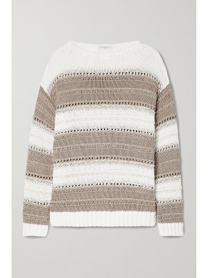 LAFAYETTE 148 sequin-embellished striped open-knit cotton-blend sweater
