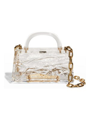 L'Afshar Eva Crushed Ice Clear Acrylic Top-Handle Bag