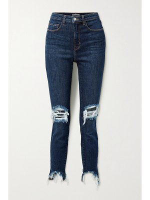 L'AGENCE high line cropped distressed skinny jeans