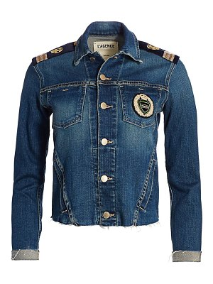 L'AGENCE janelle slim-fit embroidered crest military denim jacket