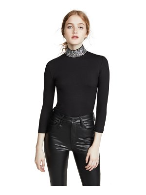 L'AGENCE mya embellished mock neck top