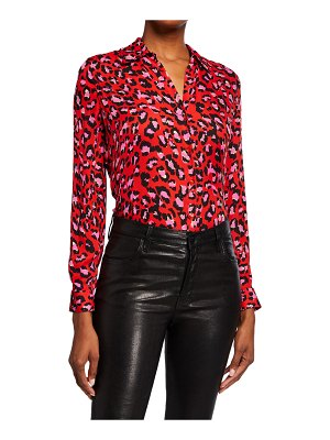 L'AGENCE Nina Animal-Print Long-Sleeve Silk Blouse