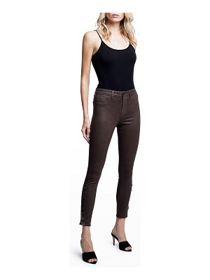 L'AGENCE Piper High-Rise Coated Skinny Jeans w/ Ankle Buttons
