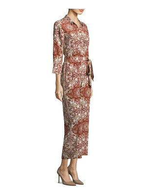 L'AGENCE Printed Silk Belted Jumpsuit