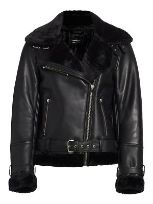 LAMARQUE zoe faux shearling-trim leather jacket