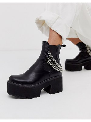 Lamoda black chunky chelsea boots with chain detail