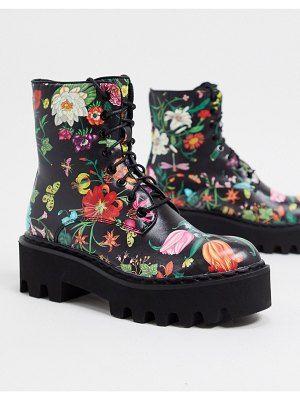 Lamoda chunky lace up boots in dark floral-multi