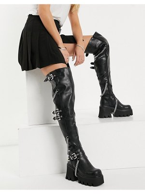 Lamoda chunky over the knee boot with chains in black