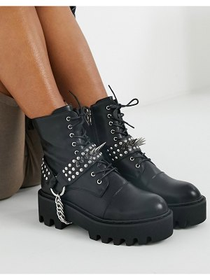 Lamoda deviant lace up boots with studded harness in black