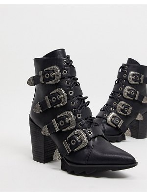 Lamoda don't even heeled buckle boots in black