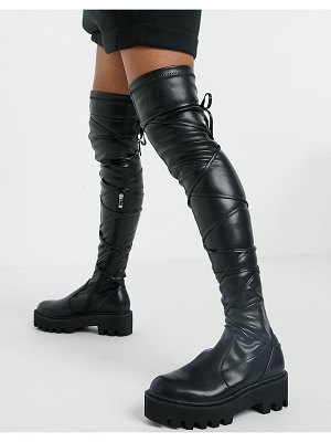 Lamoda pull on over the knee boots with strapping in black