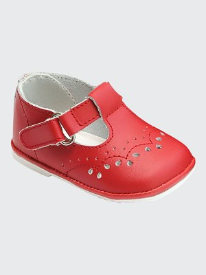L'Amour Shoes Birdie Leather T-Strap Brogue Mary Jane