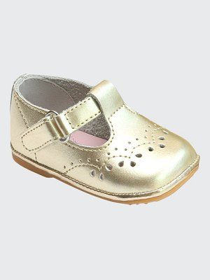 L'Amour Shoes Birdie Metallic Leather T-Strap Brogue Mary Jane