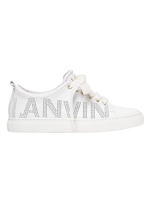 Lanvin 20mm perforated logo leather sneakers